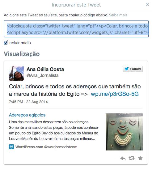 código para embedar tweet